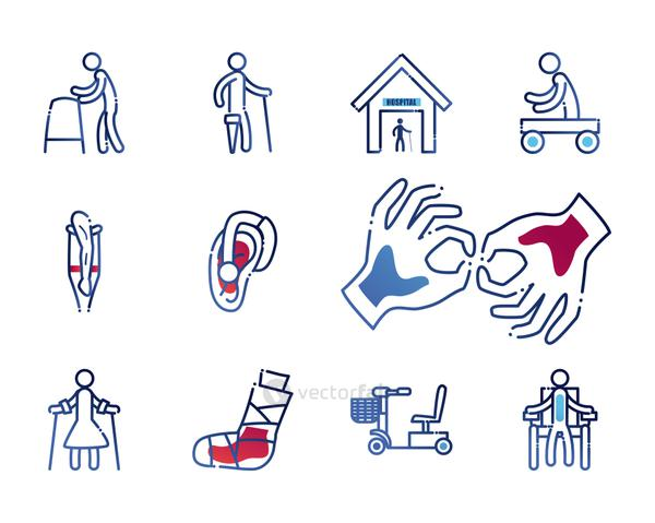 Handicapped gradient style set of icons vector design