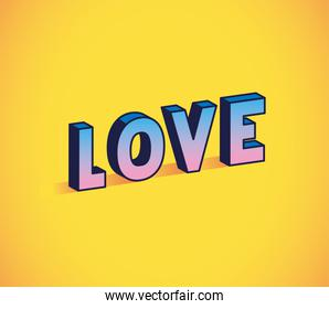 love lettering on yellow background vector design
