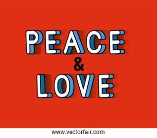 peace and love lettering on red background vector design