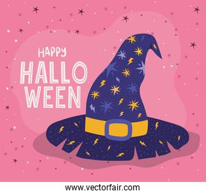 Halloween witch hat with stars vector design