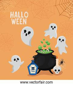 Halloween ghosts cartoons with witch bowl vector design