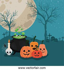 Halloween pumpkins cartoons and witch bowl in front of cemetery vector design