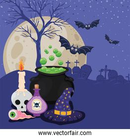 Halloween skull with candle poison witch bowl and hat in front of cemetery vector design