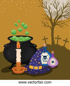Halloween candle poisons witch bowl and hat in front of cemetery vector design