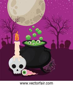 Halloween skull with candle eye and witch bowl in front of cemetery vector design