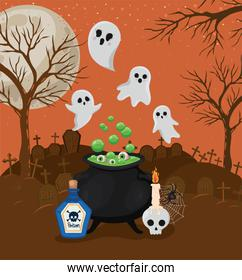 Halloween ghosts cartoons and witch bowl in front of cemetery vector design