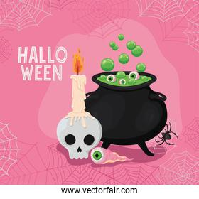 Halloween skull with candle eye and witch bowl vector design