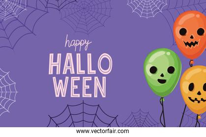 Halloween pumpkins balloons with spiderwebs vector design