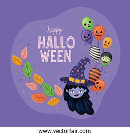 Halloween witch   with leaves and balloons vector design
