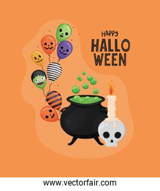 Halloween skull with candle witch bowl and balloons vector design
