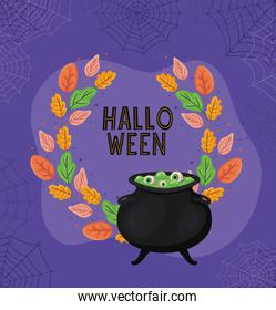 Halloween witch bowl with leaves and spiderwebs vector design