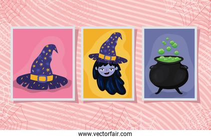 Halloween witch cartoon hat and bowl in frames vector design