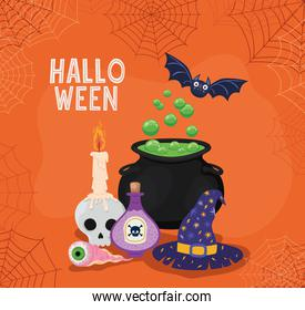 Halloween witch bowl hat and poison with spiderwebs frame vector design