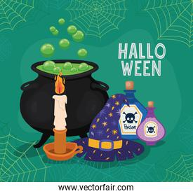 Halloween witch bowl hat candle and poisons with spiderwebs frame vector design