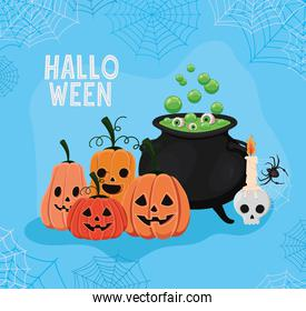 Halloween pumpkins cartoons and witch bowl with spiderwebs frame vector design