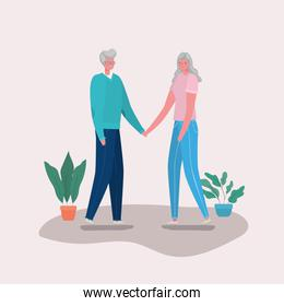 Senior woman and man cartoons with plants vector design
