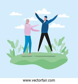 Senior woman and man cartoons with sportswear at park vector design