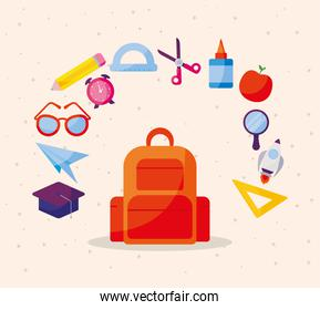 bag with icon set of back to school vector design