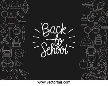 chack icon set of black to school on green board vector design