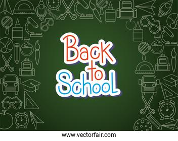 chack icon set of back to school on green board vector design