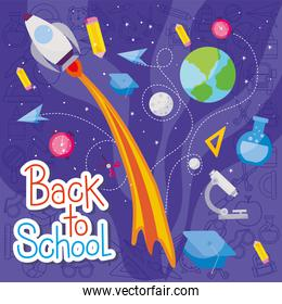 rocket and icon set of back to school vector design