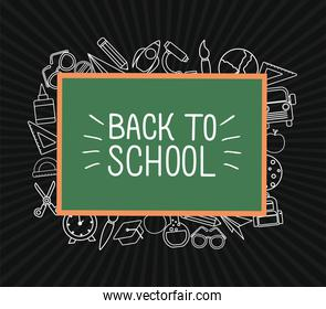 chack icon set of back to school around green board vector design
