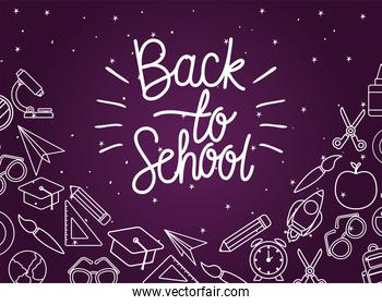 chack icon set of back to school on purple background vector design