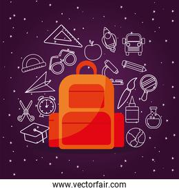 bag with icon set of back to school on stars background vector design