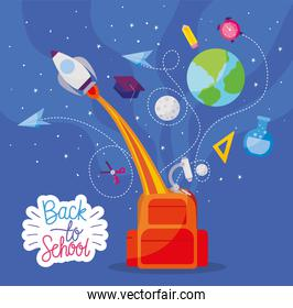 bag with rocket and icon set of back to school vector design