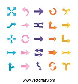 Arrows flat style symbols set vector design