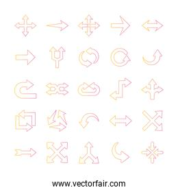 Arrows gradient style icons group vector design