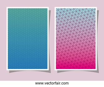 Pink and blue gradient and pattern backgrounds frames vector