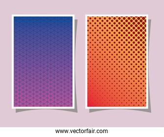 Purple and orange gradient and pattern backgrounds frames vector illustration