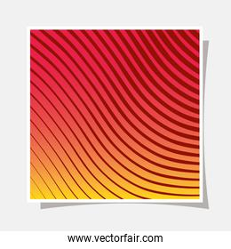 red with yellow gradient and striped background frame vector design