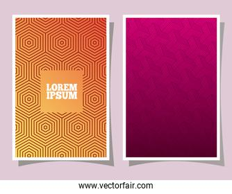 orange and pink gradient and pattern backgrounds frames vector design