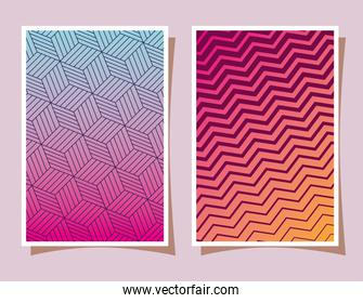 blue and pink with orange gradient and pattern backgrounds frames vector design