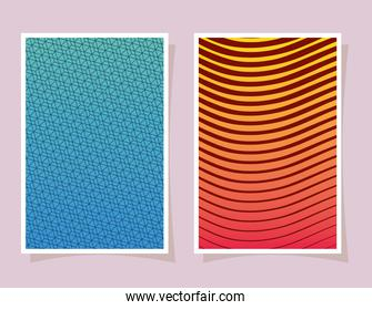blue and yellow with orange gradient and pattern backgrounds frames vector design