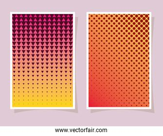 orange and pink with yellow gradient and pattern backgrounds frames vector illustration