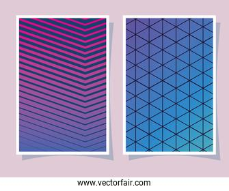 Pink and blue gradient and pattern backgrounds frames vector design