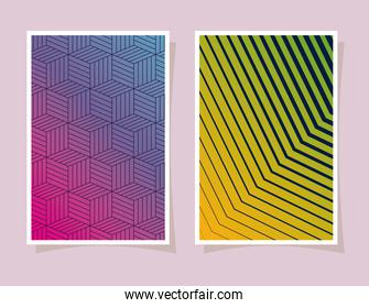 blue with pink and green gradient and pattern backgrounds frames vector design