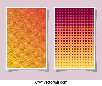 orange and pink with yellow gradient and pattern backgrounds frames vector design