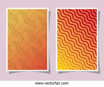 orange with yellow gradient pattern and striped backgrounds frames vector design