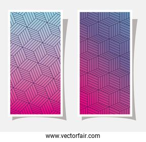 Purple with pink and blue gradient and pattern backgrounds frames vector design