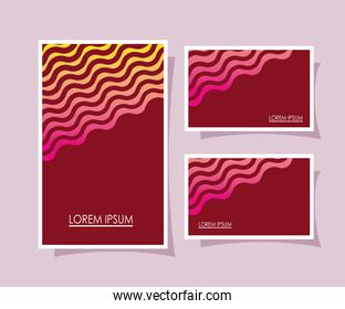 red backgrounds frames with pink and yellow lines vector design