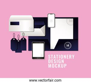 bags and mugs mockup set with dark blue branding vector design