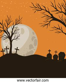 Halloween crosses graves and trees in front of moon landscape vector design