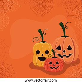 Halloween pumpkins cartoons with spiderwebs vector design