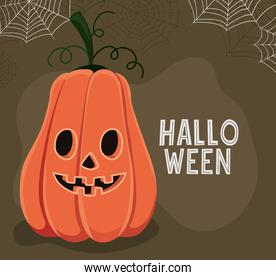 Halloween pumpkin cartoon with spiderwebs vector design