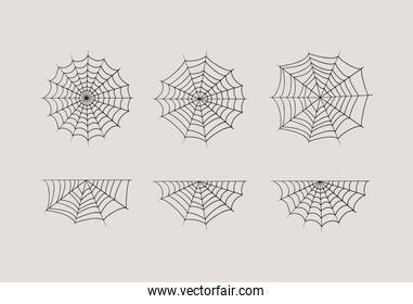 Halloween spiderwebs set vector design