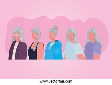 Senior women cartoons on pink background vector design